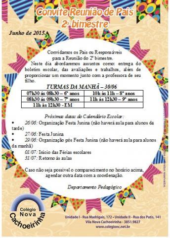 Reunião De Pais E Mestres 2º Bimestre 2015 Colégio Nova Cachoeirinha